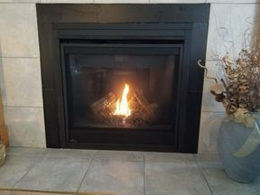 newly installed fireplace